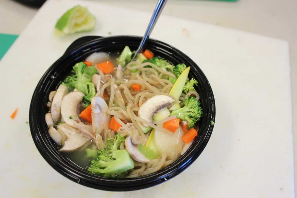 Homemade chicken noodle bowl