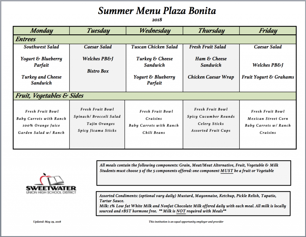 SUHSD summer menu Plaza Bonita